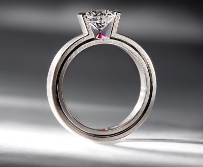 18K grey gold, diamond and ruby engagement ring by Satoru #satoru