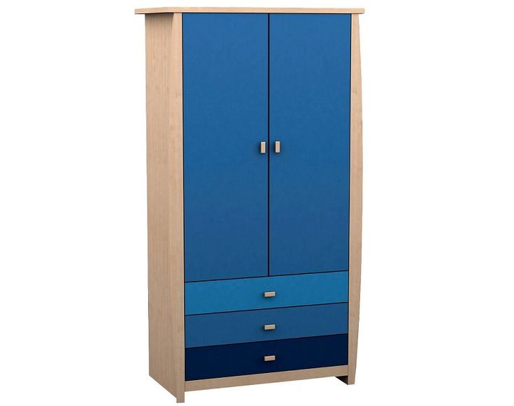 Three Drawers And Two Door Blue Wardrobe Design Id541 - Two Door Wardrobe Designs - Wardrobe Designs - Product Design