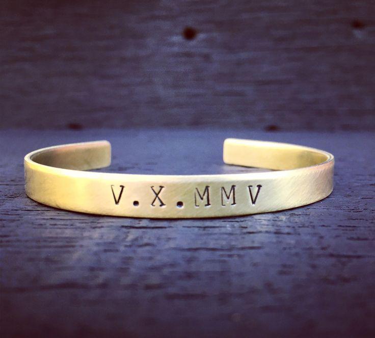 Roman Numeral Brass Cuff Bracelet | Roman Numeral Jewelry | Personalized Brass Cuff Bracelet | Custom Date Cuff Bracelet | Gift For Her by SecretHillStudio on Etsy https://www.etsy.com/listing/514161827/roman-numeral-brass-cuff-bracelet-roman