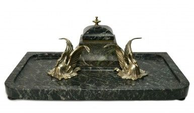 Large Marble and Silver Plated Swans Desktop Inkwell by Schumacher Foundry, Antique Austrian, circa 1900
