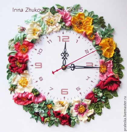 Flower clock #ribbonEmbroidery