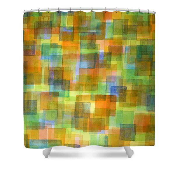 Heidi Capitaine Shower Curtains Rug Out Of Orange Blue And Green Squares Shower Curtain By