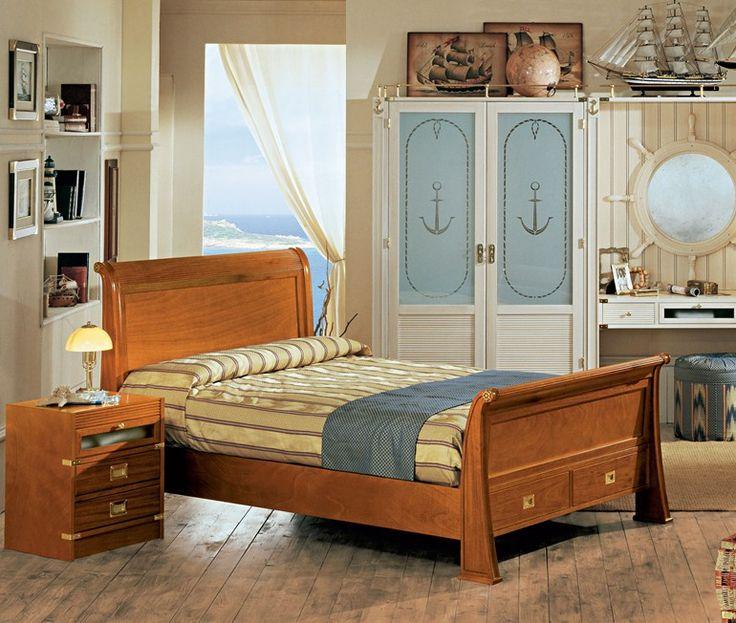 Cama una plaza y media doble de madera de estilo for Precio cama una plaza