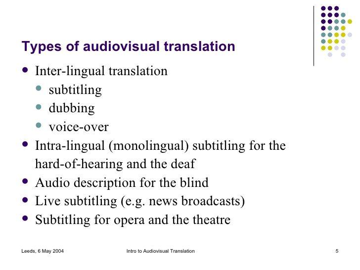 Types of Audiovisual Translation