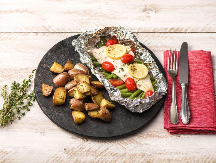 Heekfilet uit de oven met sperziebonen en aardappelen