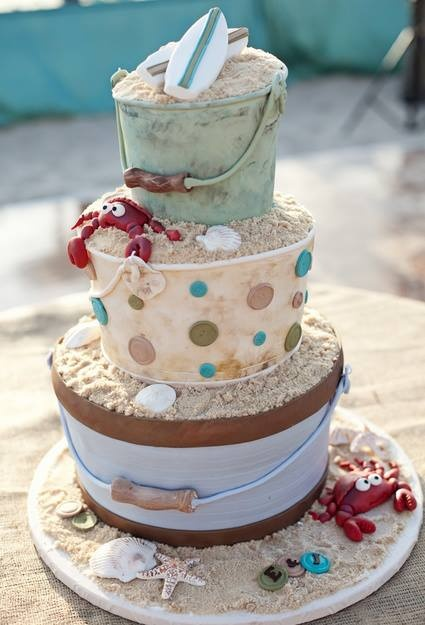 """instead of beach theme, make wedding and have flowers in the """"buckets"""". Some spilling out in spots"""