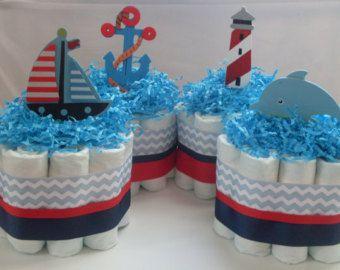 Set of 3 Mini Burlap and Blue Diaper Cakes par BuzzyDiaperCakes