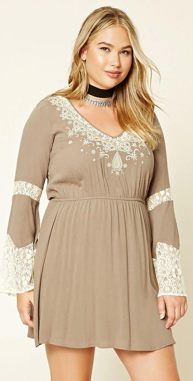 Plus Size Lace Mini Dress