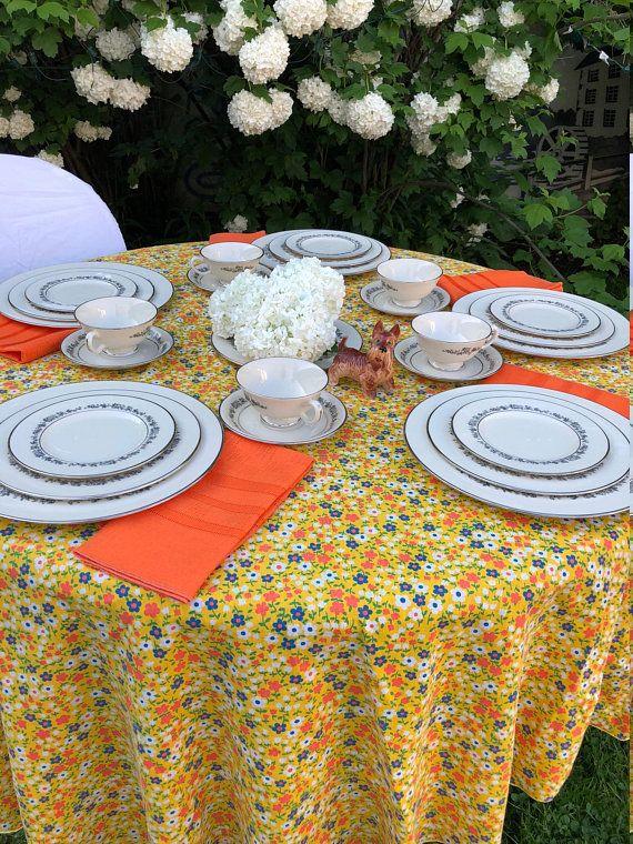 Cornflower Tablecloth Vintage Tablecloth Retro 1960s 70s Yellow