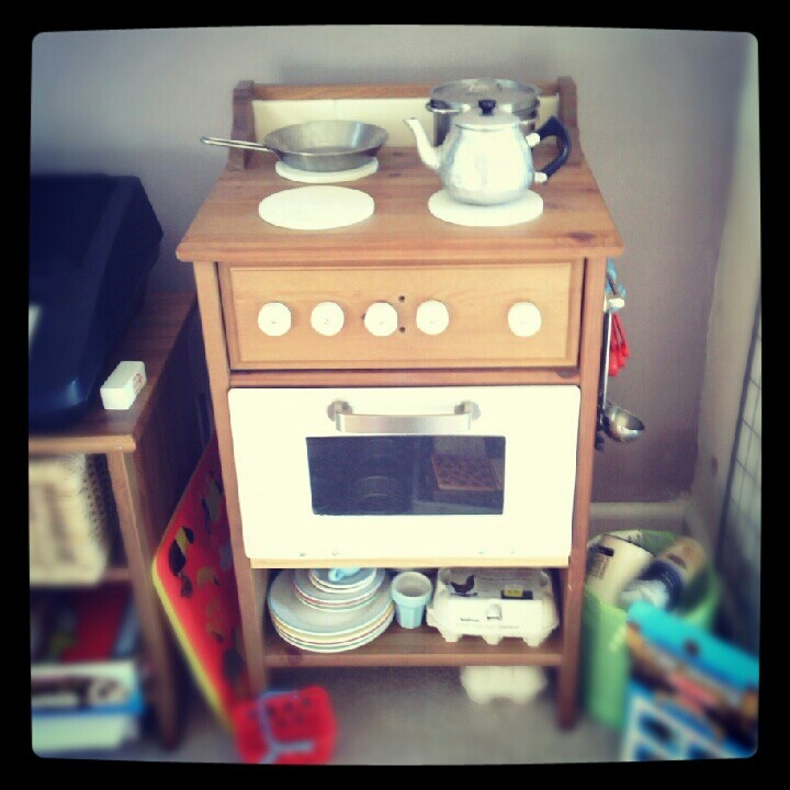 Toy kitchen upcycled from an IKEA bedside table - by me!