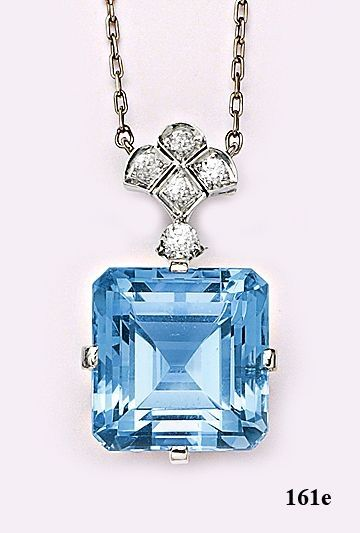 Art Deco Emerald-cut aquamarine, diamond and platinum necklace. Tiffany & Co by daemongirl