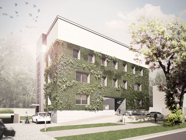 architectual rendering (FAAB Architektura) of how the building will look once completed