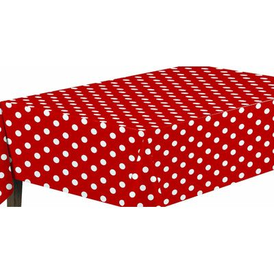 "Ottomanson Essential Polka Dot Design Indoor/Outdoor Tablecloth Size: 102"" W x 55"" L"