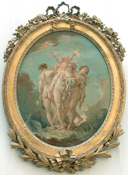The Three Graces Carrying Amor, God of Love. By Francois Boucher. I especially love the frame.