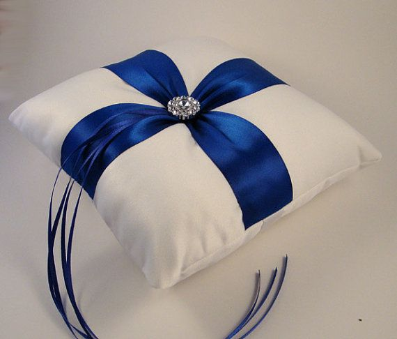 Fifth Avenue Ring Bearer Pillow - Choose Your Colors. Shown in White and Royal Blue. BOGO Half Offer