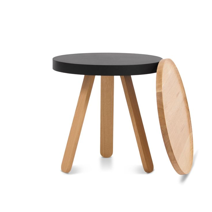 Batea S by Woodendot. The smallest member of the Batea family, inspired by traditional serving trays, provides extra functionality with its solid wooden tray, easy to remove and use.  Aside tray table that combines tradition and modernity, adapting to the dynamics of each space.  With clean, rounded lines, this piece comprises a tray and three legs made of solid wood that can be easily attached to a lacquered metal structure.