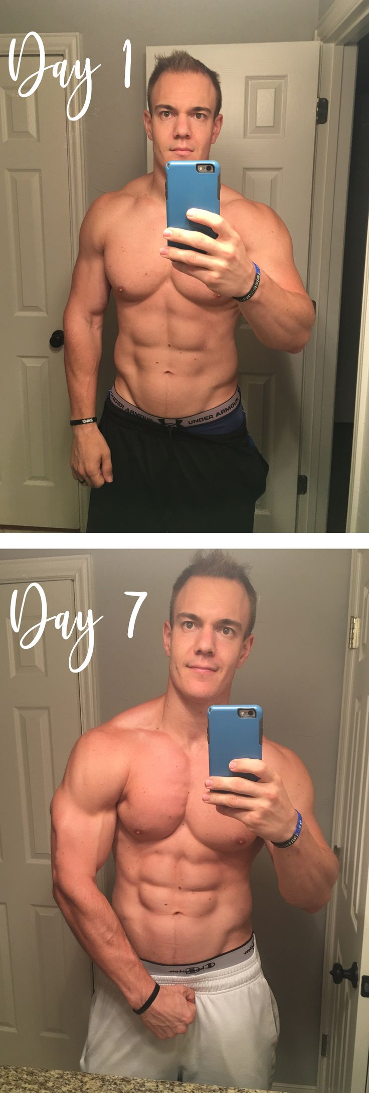 Chris Gronkowski: My 1 week challenge!  I wanted to see if I could see a noticeable difference in 1 week!  I already was working out almost everyday and I eat pretty healthy so my results probably weren't as significant as someone that doesn't work out or eat healthy if they did this challenge!