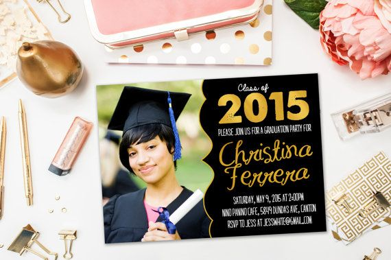 Graduation Party Invitations / Black and Gold Landscape, Photo / Party Invite for Graduate / Class of 2015, 2016 / Digital or Printed Cards