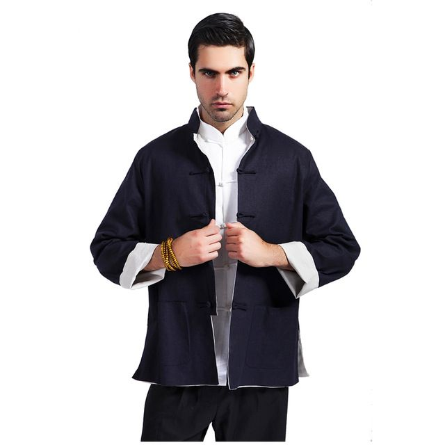 Check it on our site Blue Beige Reversible Men Cotton Linen Jacket Chinese Traditional Mandarin Collar Coat Overcoat Size M L XL XXL XXXL MS099 just only $28.00 with free shipping worldwide  #jacketscoatsformen Plese click on picture to see our special price for you
