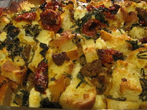 sausage, greens and slow roasted tomato bread pudding.