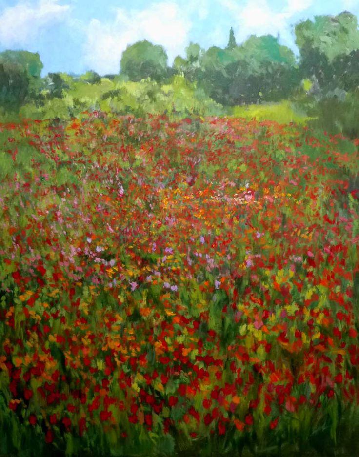 Un óleo perteneciente a la serie de oleos de Andalucía de un campo de flores en primavera en el interior de Cádiz. La paleta que he usado es muy impresionista como podréi comprobar.  Rubén - www.rubendeluis.com  contacto: ruben@rubendeluis.com