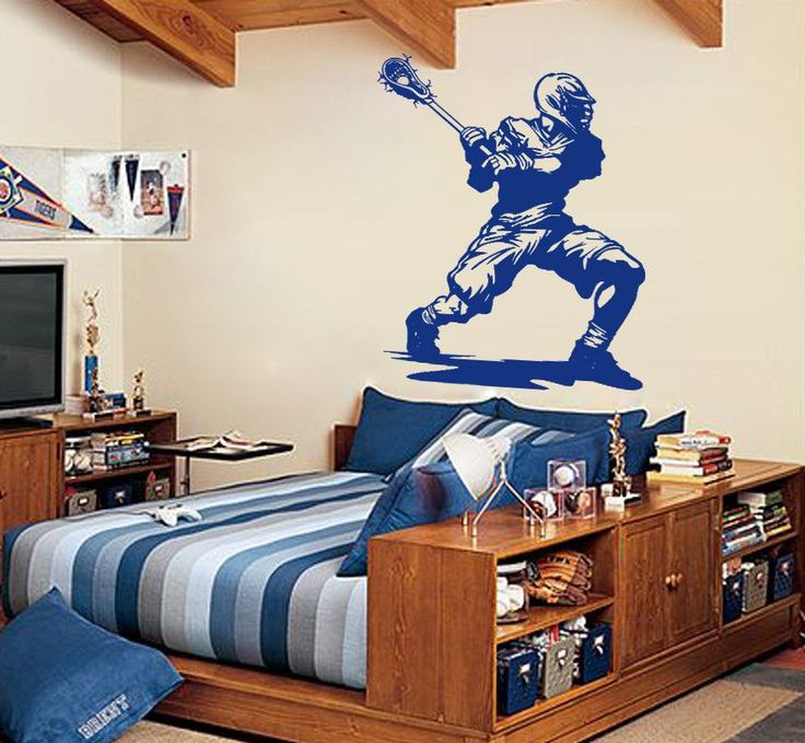 Ik878 Wall Decal Sticker Lacrosse Helmet Sport Room Teens Kids Teen Bedroom