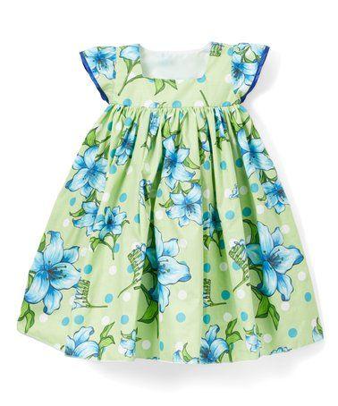 Lime Dot Floral Angel-Sleeve Dress - Infant, Toddler & Girls #zulily #zulilyfinds