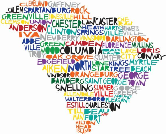 south carolina city names within shape of state - very cute - maybe even for school and home!  :)
