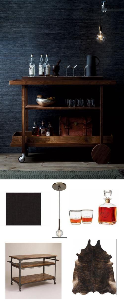 dark and masculine bar cart