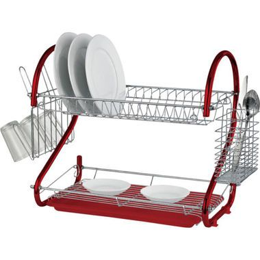 Carefully crafted stainless steel 3-tier dish rack.
