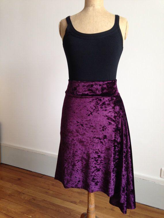 Beautiful asymmetric velvet tango skirt rich plum by BellaTango