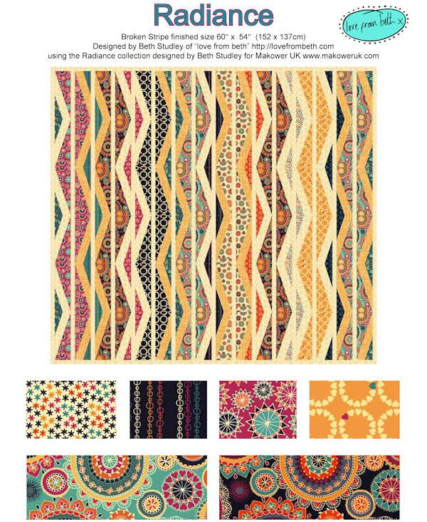 FREE PATTERN DOWNLOAD: Broken Stripe quilt designed by Beth Studley of love from beth using her Radiance collection. A modern and vibrant new range based around antique crochet and lace. The addition of colour to the traditionally monotone lace outlines gives a radiance and depth beyond it's roots.