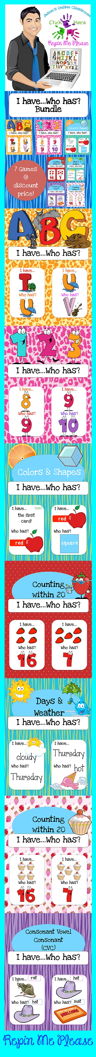 $6 - I Have Who Has Bundle featuring 7 games for Pre-K to K for a variety of common core related skills all bundled together at a discount price!!  Click link below for more info about the images used to make this resource (Images © Graphics Factory) http://jasonsonlineclassroom.com./graphics-factory/