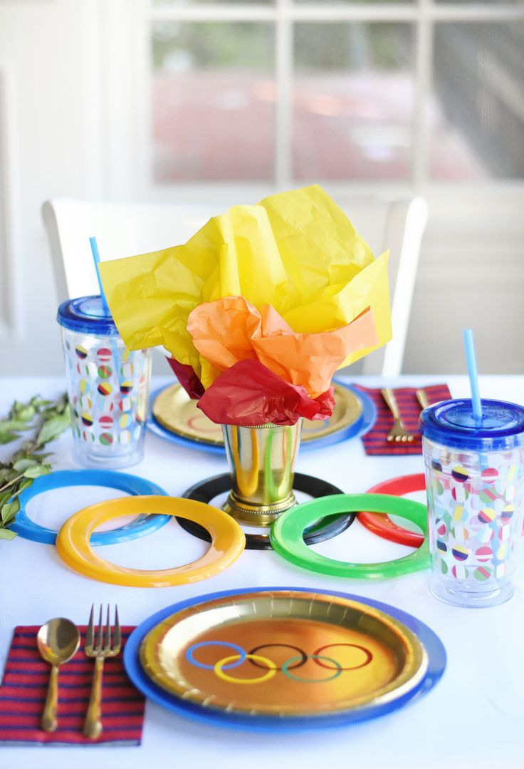 Olympics-Themed Party Table Decor. This is an amazing idea!