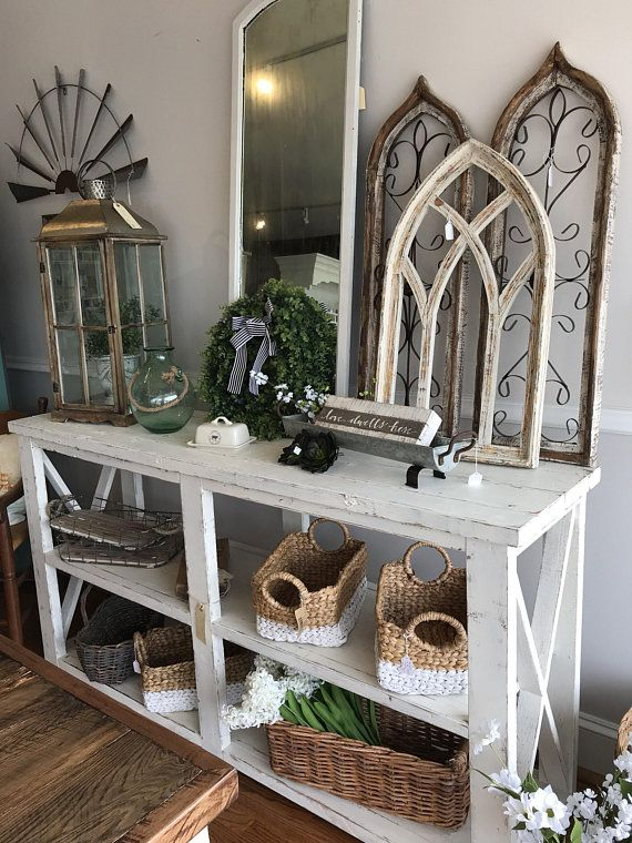 Rustic Farm House Style Console Shelf Entry Table Sofa