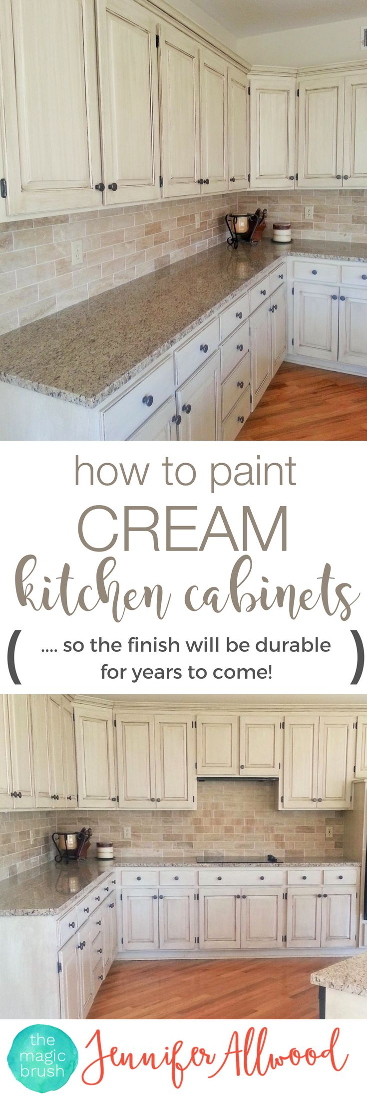 How to paint cream kitchen cabinets so the finish will be durable! Cabinet Painting Tips from theMagicBrushinc.com. Here's an easy DIY kitchen update with painted kitchen cabinets. Gorgeous Kitchen!