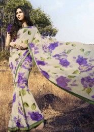 Casual Wear  Georgette Cream Printed Saree