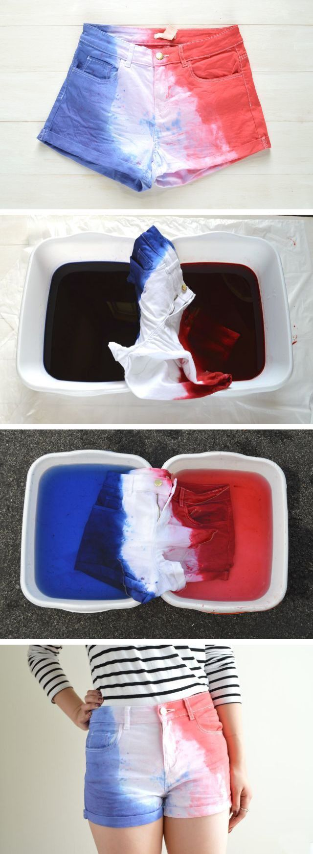 Dip dye white shorts to make them perfect for 4th of July! So cute!  DIY instructions here: http://www.ehow.com/how_12340645_make-red-white-blue-shorts.html?utm_source=pinterest.com&utm_medium=referral&utm_content=freestyle&utm_campaign=fanpage