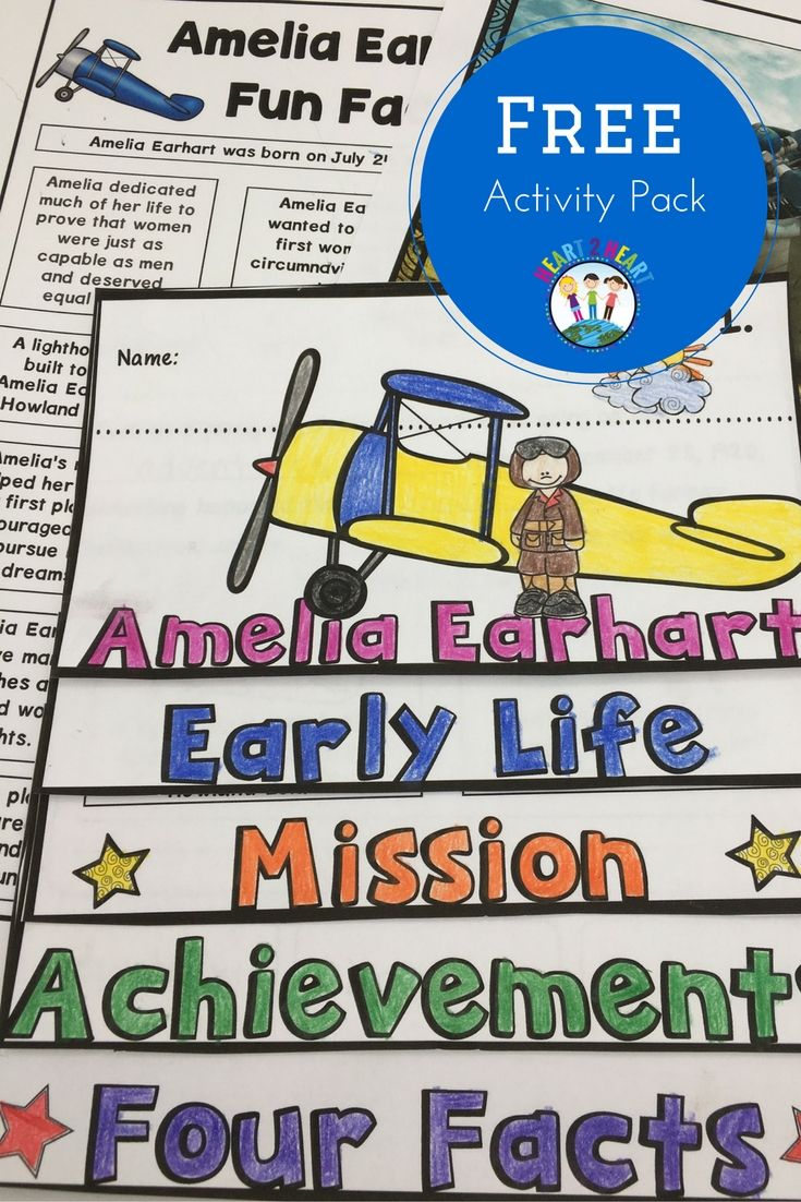 FREE Amelia Earhart Activity Pack with Flip Book! Students will love this fun biography unit with reading passages, graphic organizers, vocabulary posters, and flip book! Sign up for our newsletter to get instant access to our Library of FREE Classroom Resources and Printables! Perfect for teachers in Grades 2-5!