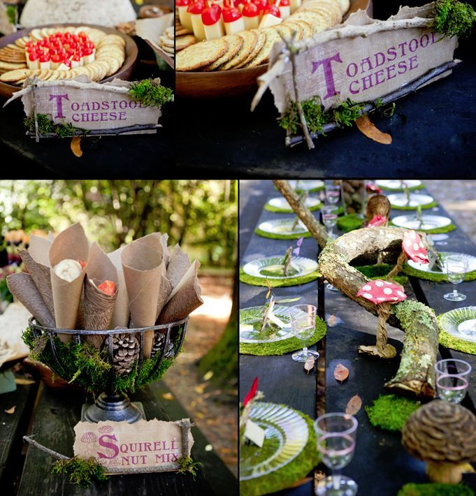 Killer food display. Grace Designs: Woodland Fairy Birthday Tea Party love this table setting with grass placemats and branch centrepiece