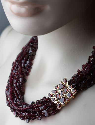 Beautiful garnet beads with bespoke garnet set clasp in 18ct yellow gold © Kristen Malan 2015