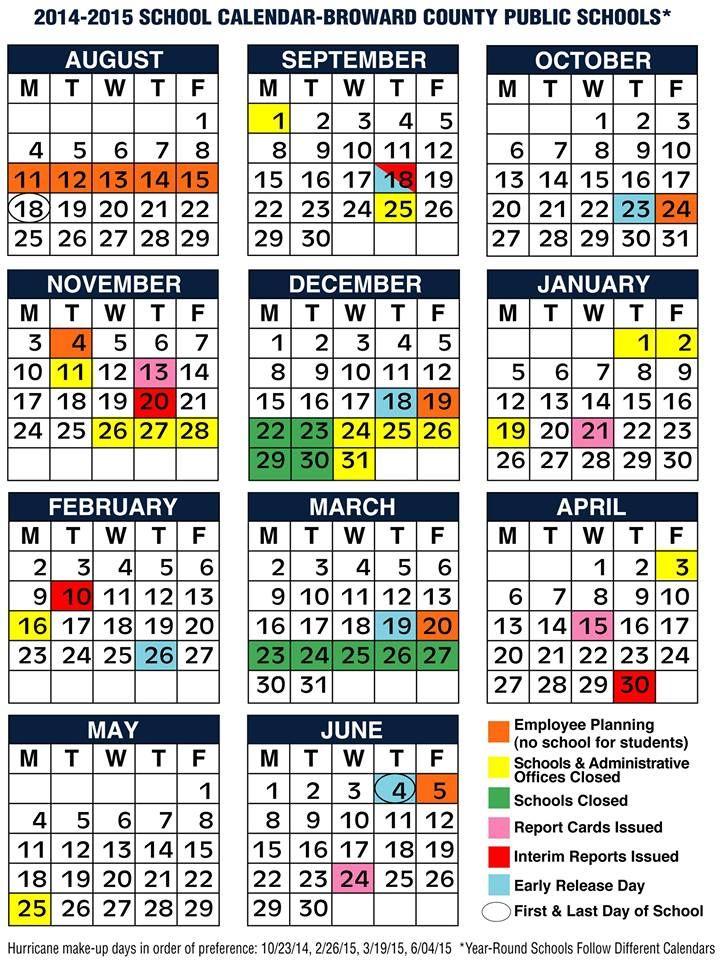 BROWARD COUNTY SCHOOLS 20142015 Calendar   BROWARD