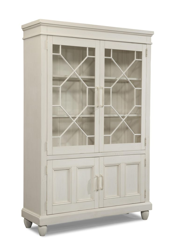 Sea Breeze Blossom White Curio Cabinet With Built In