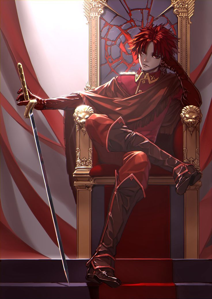 Red hair anime boy with sword anime pinterest the - Red and black anime ...