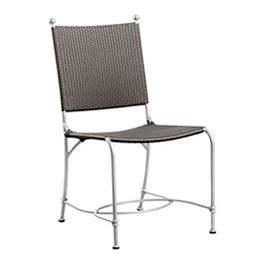 Laeticia Chair This item is hand woven with a Synthetic cane fiber (Polyethylene based) which is tear proof, colorfast, resistant to UV light and 100 % recyclable. The frame is made of Aluminum and is powder coated. The combination of both materials makes each piece totally weatherproof. The furniture can be rinsed with a hose pipe...  Material:Polycane / Aluminum Size:W: 500 D: 600 H: 940 Ref:CHPC002