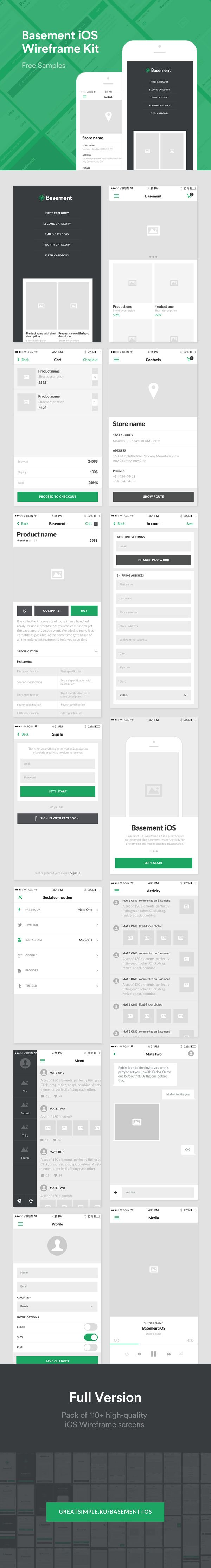 Let prototype and design your next iOS app or mobile website in a quick and effortless way with this well crafted UI wireframe kit. The Kit contains an assortment of eCommerce, and social media screens available for both Photoshop and Sketch. Check out and download for FREE!
