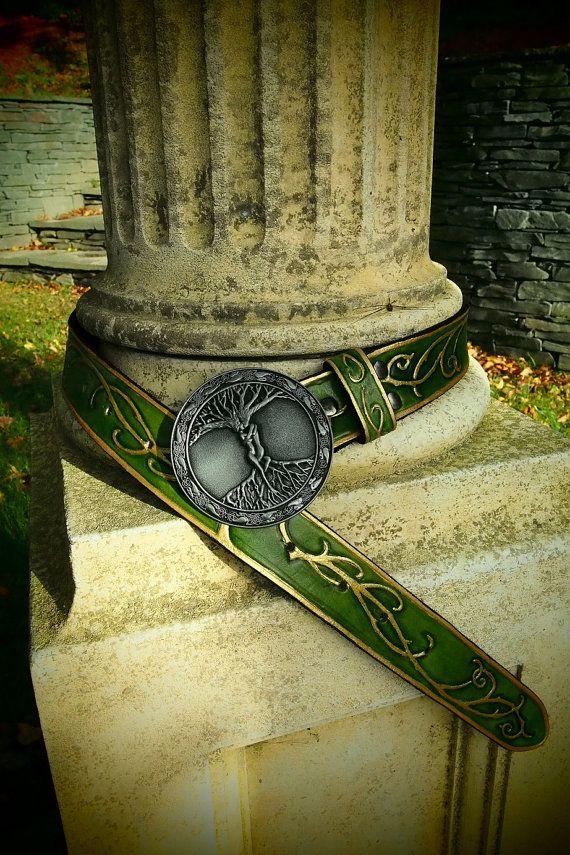 beautiful elven leather belt elvish belt by PocillatorWorkshop