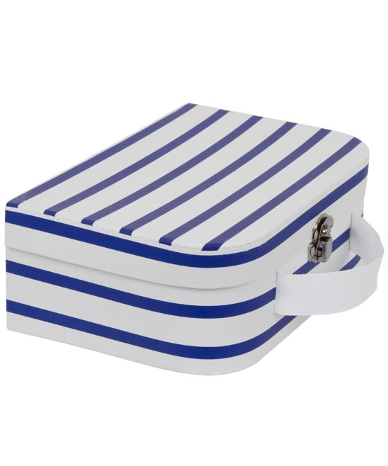 navy nautical stripe baby suitcase.