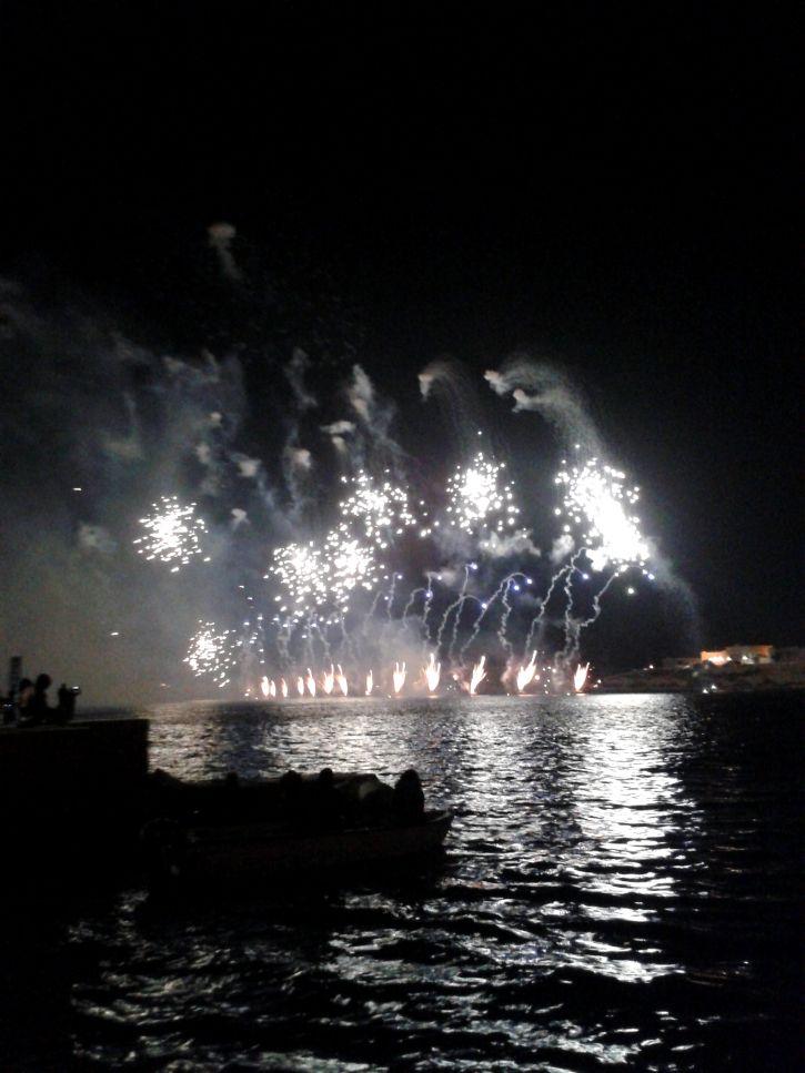 Fireworks show in Valletta, Malta