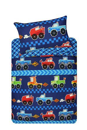 "This duvet cover set with monster trucks print is made from a 132 thread count polycotton. Single and three quarter include 1 standard pillowcase, double includes 2 standard pillowcases.<div class=""pdpDescContent""><BR /><BR /><b class=""pdpDesc"">Fabric Content:</b><BR />50% Polyester 50% Cotton<BR /><BR /><b class=""pdpDesc"">Wash Care:</b><BR>Lukewarm machine wash</div>"